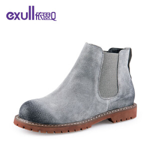 依思q冬季新款反绒皮女靴复古英伦风切尔西靴潮靴女