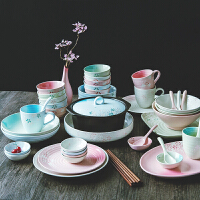 陶瓷器餐具可爱碗盘家用吃饭碗碟盘子碗套装结婚*碗筷