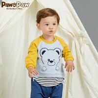 【3件3折 到手价:107】Pawinpaw卡通小熊童装秋男宝宝卡通小熊刺绣撞色长袖T恤