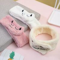 韩国可爱猫咪粘贴款发带可爱毛绒洗脸束发带宽边发箍月子包头巾女