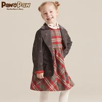 【2件2.5折 到手价:250】Pawinpaw宝英宝卡通小熊童装冬季款女童西服外套