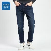 [限时抢:90.9元,真维斯周末狂欢仅限10.12-14]真维斯男装 冬装新款 简洁五袋款牛仔裤