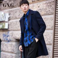 【GXG过年不打烊】GXG毛呢大衣男装 冬季男士韩版时尚气质潮流休闲中长款羊大衣男