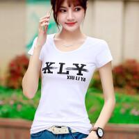 夏装新品韩国女装上衣服字母短袖T恤女修身百搭半袖女体恤衫