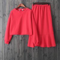 HF13红色圆领套头卫衣时髦套装春装2018新女鱼尾半身裙两件套