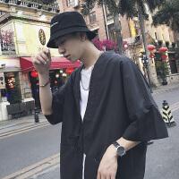 2018夏装新品潮流个性短袖衬衫日系青年宽松上衣男士学生半袖衬衣