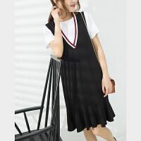 韩剧女主角范~中长款V领无袖连衣裙背心裙女X0/2/