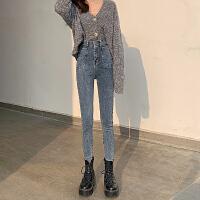 Lee Cooper新款牛仔裤女高腰显瘦裤子外穿舒适修身透气显高小脚牛仔裤女