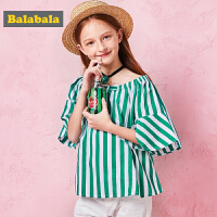 巴拉巴拉童装女童中大童短袖衬衫春夏2018新款纯棉衬衣圆领印花衫