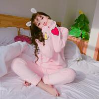 珊瑚绒睡衣秋冬季女冬卡通可爱加厚法兰绒长袖家居服套装 粉红色