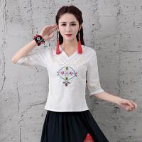 中国风女装夏季新款 短袖民族风上衣绣花V领棉麻T恤女七分袖衬衫