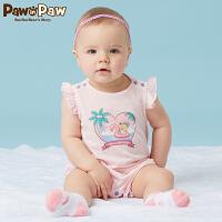 【3件3折 到手价:77】Pawinpaw卡通小熊童装夏款女宝宝短袖连体衣婴幼儿哈衣爬服