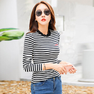 秋装新款女装上衣t恤韩版显瘦条纹长袖女t恤上衣体恤打底衫棉