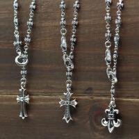 -泰银个性潮人十字架可调节毛衣链银复古吊坠项链长款男女套链