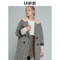 Lagogo/拉谷谷2019新款复古小香风毛呢外套女HCDD24XA51