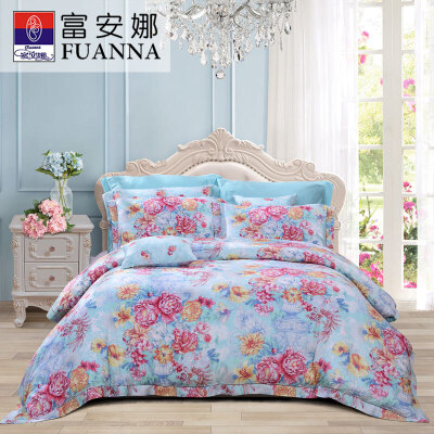 富安娜家纺 床上用品四件套双面天丝60s床品套件 单双人高档床单被套
