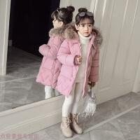 冬季女童冬装2018新款韩版棉衣儿童中长款羽绒冬季小孩外套加厚潮秋冬新款 粉红色 毛领可拆卸款 110cm