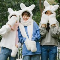 韩版软妹学生冬季保暖可爱少女毛绒兔耳朵帽子围巾手套三件一体萌