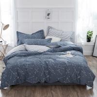 伊迪梦家纺 纯棉夏凉床单款式三四件套简约时尚床上用品 高支高密全棉斜纹活性单人双人床LK513