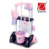 儿童过家家清洁玩具女孩打扫卫生扫地拖把仿真吸尘器宝宝工具套装 667-32粉色款不带警示牌