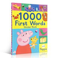 英文原版绘本Peppa's Pig 1000 first words Stickers Book粉红佩佩猪小妹入门启蒙