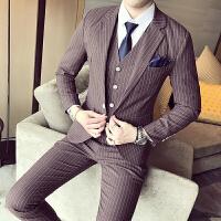 韩版时尚三件套男士西装宴会结婚条纹修身发型师职业帅气套装潮男
