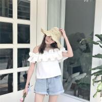 2017夏装新款女装韩版纯色短袖荷叶边一字肩衬衫吊带露肩上衣女潮