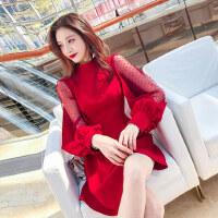 春装红色裙子2019新款女装潮韩版性感网纱拼接灯笼袖连衣裙