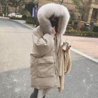 2018年新款羽绒服女式中长款韩国潮加厚貉子真毛大毛领连帽桃皮绒 均码