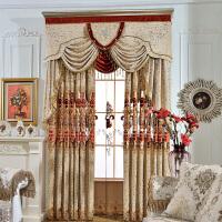 欧式窗帘客厅豪华雪尼尔绣花窗帘镂空大气客厅落地窗窗纱