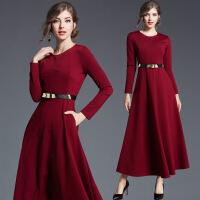 红色过膝长裙连衣裙女秋冬新款夏收腰显瘦修身长袖女裙子长款