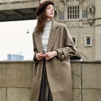 冬装新品 西装领蝙蝠袖双排扣毛呢大衣外套女D741039D00