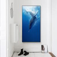 玄关装饰画竖版动物海洋地中海走廊过道挂画壁画蓝色SN7509 A款 73*143cm 独立单幅价格