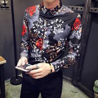 春秋款男士潮流个性大满花长袖衬衫韩版修身青年男式免烫衬衣服