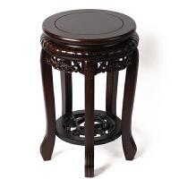 红木盆景架子 花盆底座 黑梓木室内仿古花几花架 虎凳 雕花鱼缸架