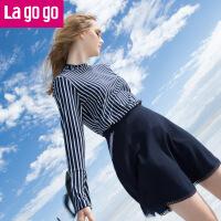 【满200减100】Lagogo2017秋季新款时尚百搭拉链半裙女藏青色半身裙高腰镂空短裙GCBB137A37