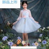 儿童礼服钢琴演出服长袖粉色短裙花童蓬蓬裙中大儿童生日公主裙女