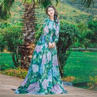 泰国印花连衣裙长款女夏新款修身显瘦长袖波西米亚长裙沙滩裙仙气 花色