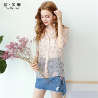 秋季新款韩版气质小衫中长袖上衣薄喇叭袖印花雪纺衬衫潮女60006096