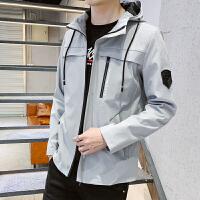 男外套春秋潮流韩版学生宽松夹克衫男生新款长袖带帽子茄克上衣服