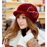 秋冬女帽韩版护耳帽可爱兔毛帽子时尚女士冬季鸭舌帽