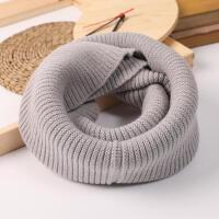 韩版冬季百搭纯色简洁坑条女毛线围脖套头原宿针织冬天保暖加厚粉