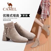 骆驼女鞋2019冬季新款英伦风潮流靴子女短筒靴加绒高跟短靴女粗跟