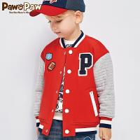 【秒杀价:209元】Pawinpaw宝英宝卡通小熊童装男童夹克棒球服外套撞色上衣