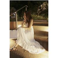 仙气十足性感抹胸绑带长裙吊带唯美连衣裙 白色 均码
