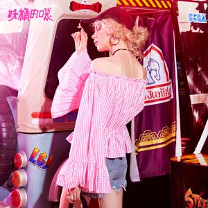 【低至1折起】妖精的口袋蓬蓬上衣春秋装新款露肩荷叶边微喇袖格子衬衫女