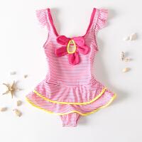 儿童泳衣女童幼儿小女孩宝宝裙式可爱蝴蝶结连体条纹泳装
