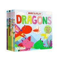 【全店300减100】动物世界模型书(6本)Make&Play 英文原版进口 幼儿童手工制作3d立体折纸恐龙海洋丛林动物