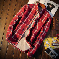 男士长袖加绒保暖衬衫休闲条纹加厚寸衫潮流白色韩版格子衬衣外套