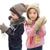 kk树秋冬儿童围巾帽手套三件套保暖宝宝帽子围巾一体小孩套装男女